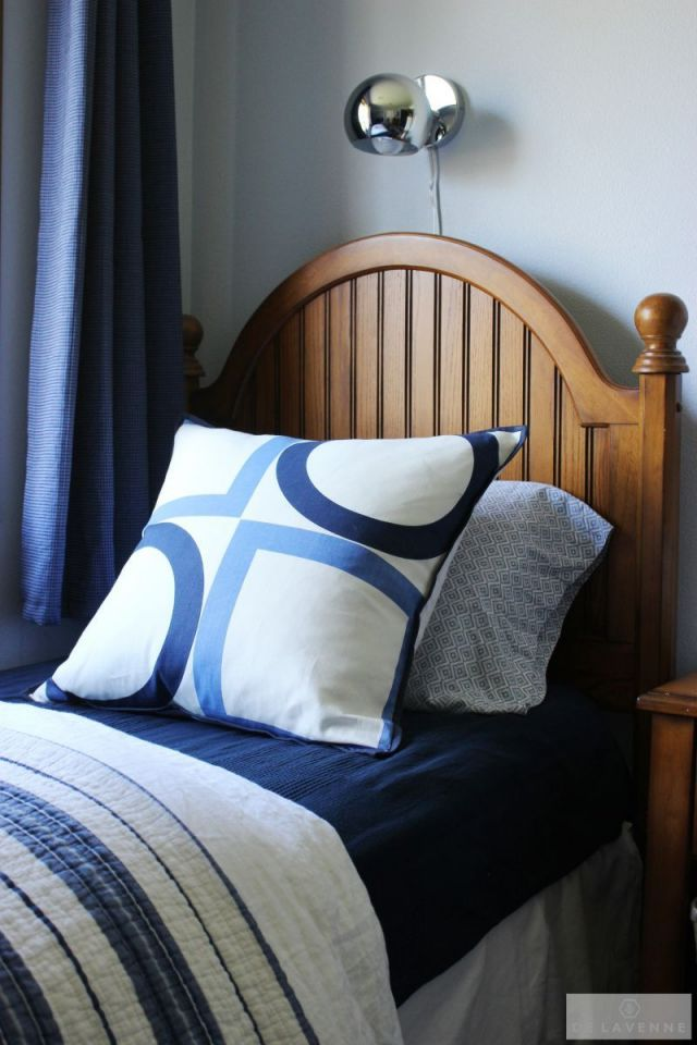 I had been coveting Victoria Hagan s summer square  f o r  y e a r s.  (Pillow). Lamp: Urban Outfitters.
