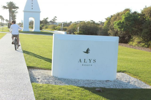 I love the logo of Alys Beach, don t you?  We rode for 2 1/2 hours this day-it was sooooo beautiful. It s up there with the best bike ride I have ever had, honestly. All of us on our bikes, perfect temps, the sunset.  I am glad we kept on riding, it STORMED the next 4 days.