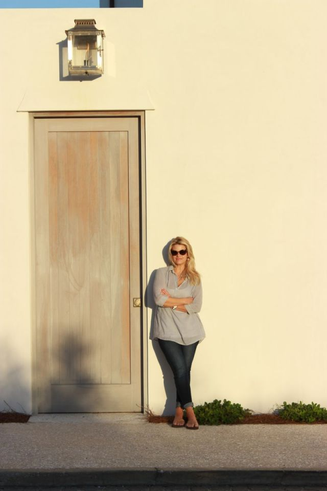 My husband took this of me standing by a stunning side entry of an Alys Beach residence.