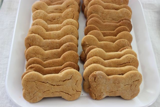 Peanut Butter cookie mix, with a little added flour upon cutting, makes these dog bone cookies look like real dog biscuits.  For Peanut sensitive kids, oatmeal would work great too.
