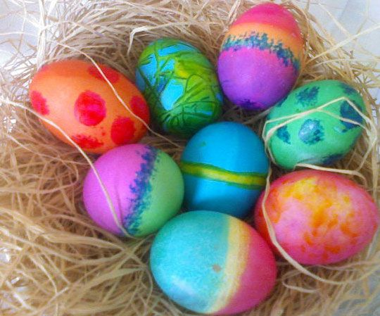 There are colorful eggs.
