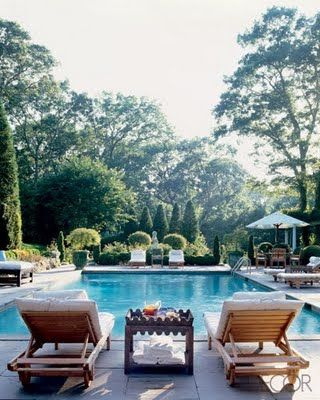The best pools, I think, are surrounded by more greenery than concrete or tile, like this one, don t you think?